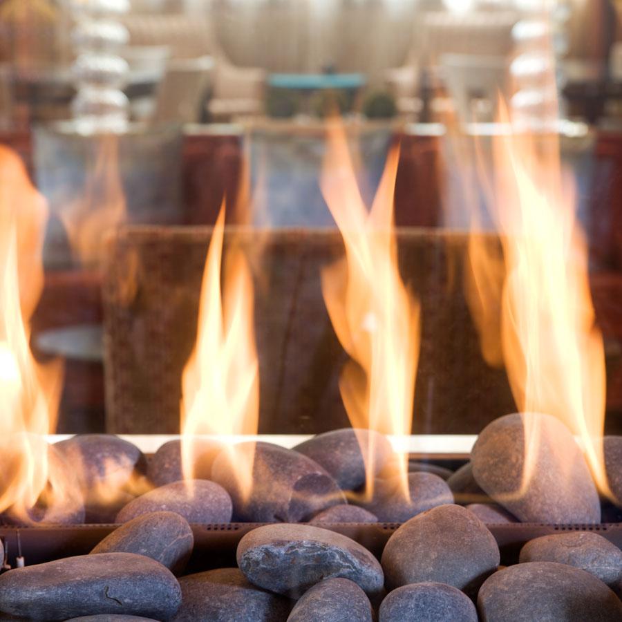 Gas Fireplace on rocks